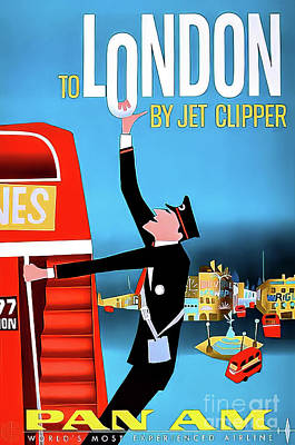 Drawings Royalty Free Images - Pan Am London Travel Poster 1958 Royalty-Free Image by Pan Am