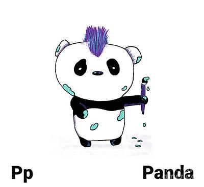 Drawing - Panda Nursery Art by Mike Mooney