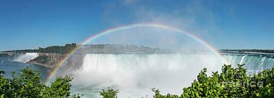 Sara Habecker Folk Print - Panorama Of Niagara Falls With Rainbow by Helen Filatova