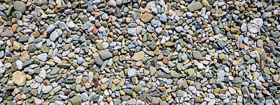 Holiday Pillows 2019 - Panorama of pebble sea stones background Morecambe UK by David Ridley
