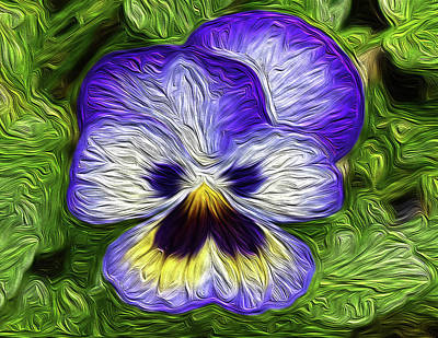 Winter Animals - Pansy Oil Painting by Karen Largent