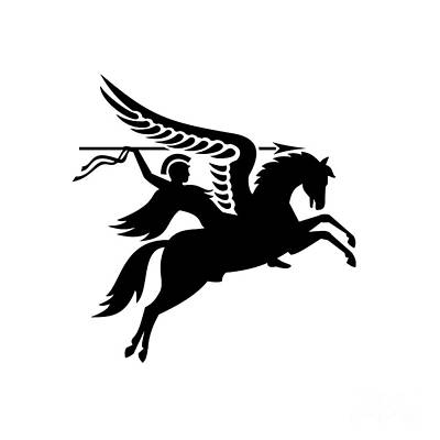 Rabbit Marcus The Great - Parachute Regiment Airborne Forces Showing an English British Knight Warrior Riding a Winged Horse or Pegasus with Lance or Spear Military Badge Black and White by Aloysius Patrimonio