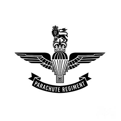 Rabbit Marcus The Great - Parachute Regiment Insignia with Parachute with Wings Royal Crown and Lion Worn by Paratroopers in the British Armed Forces Military Badge Black and White by Aloysius Patrimonio