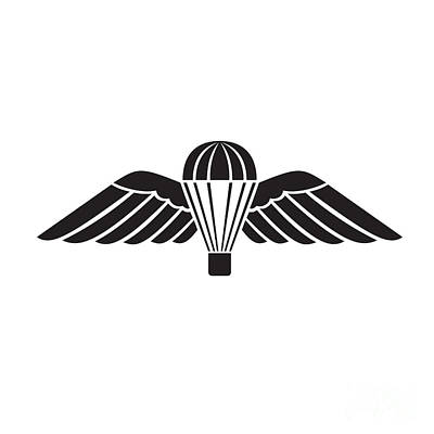 Rabbit Marcus The Great - Parachute with Wings or Parachutist Badge Used by Parachute Regiment in British Armed Forces Military Badge Black and White by Aloysius Patrimonio