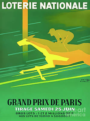 Animals Drawings - Paris 1966 Grand Prix by Paul Colin
