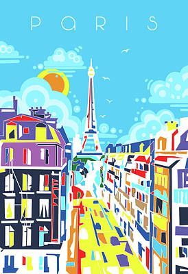 Paris Skyline Royalty-Free and Rights-Managed Images - Paris City Modern by Bekim M