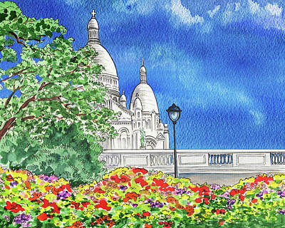 Royalty-Free and Rights-Managed Images - Paris France Sacre Coeur Cathedral Watercolor  by Irina Sztukowski