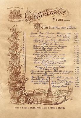 Miles Davis - Paris Restaurant Menu 1889 by Andrew Fare