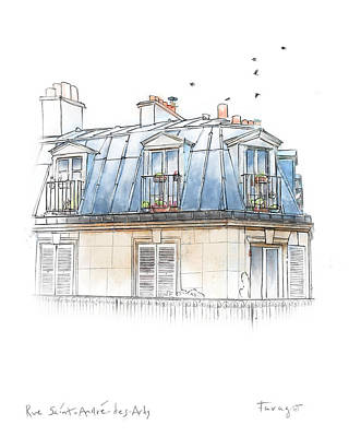 Drawing - Paris Rooftop by Peter Farago