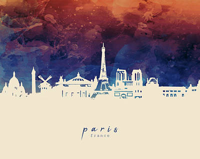 Paris Skyline Royalty-Free and Rights-Managed Images - Paris Skyline Panorama 3 by Bekim M