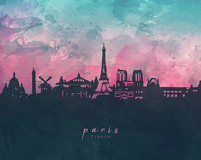 Paris Skyline Royalty-Free and Rights-Managed Images - Paris Skyline Panorama by Bekim M