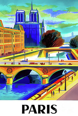 Drawings Royalty Free Images - Paris Vintage Travel Poster 1957 Royalty-Free Image by Sncf