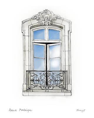Drawing - Parisian Window by Peter Farago