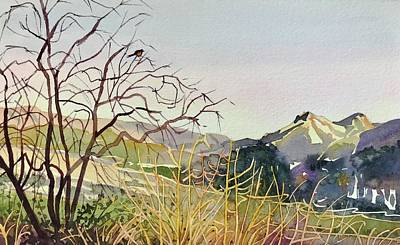 Comedian Drawings - Reagan Ranch Meadow - Golden Hour  by Luisa Millicent