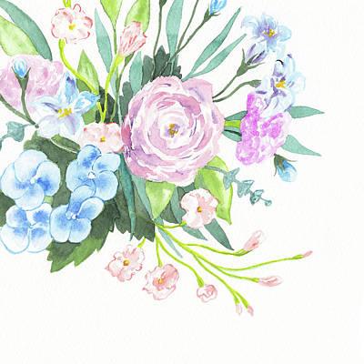 The Beach House - Pastel Color Flowers Wedding Bouquet Watercolor by Irina Sztukowski