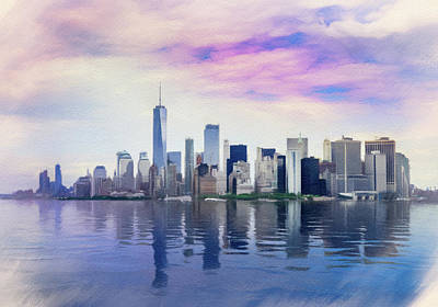 Photograph - Pastel drawing of New York City from the water by Steven Heap