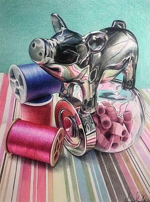 Drawing - Pastel Piglet by Melanie Stimmell Van Latum