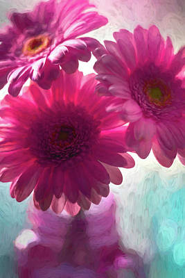 Royalty-Free and Rights-Managed Images - Pastel Pink Gerbera Daisy Trio Painterly  by Carol Japp