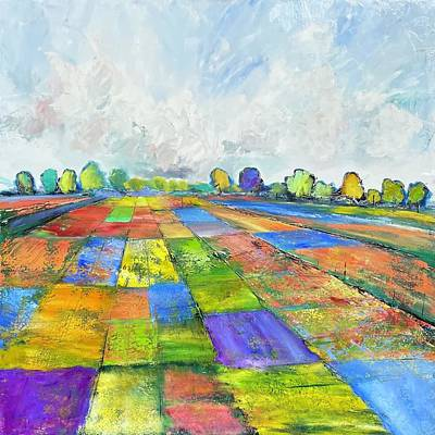 Painting - Patchwork Series Purple  by Julia S Powell