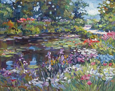Roaring Red -  Pathway Around The Garden Pond by David Lloyd Glover