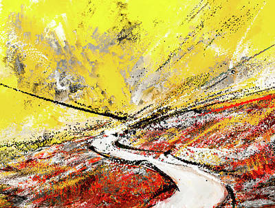 Royalty-Free and Rights-Managed Images - Pathway to Hues -Yellow Gray And Red Abstract Art by Lourry Legarde