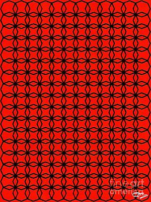 Digital Art - Pattern with an Red and Black Abstract Multi Shaped Design. by Douglas Brown
