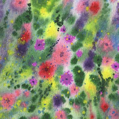 Sara Habecker Folk Print - Pattern With Watercolor Abstract Flowers    by Irina Sztukowski