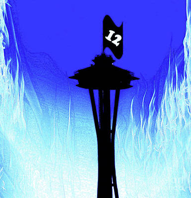 Sports Royalty-Free and Rights-Managed Images - Paul Allen Seahawks Salute at The Space Needle by Eddie Eastwood