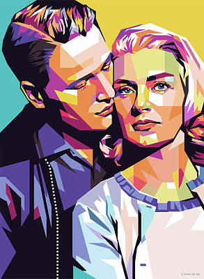 Digital Art Royalty Free Images - Paul Newman and Joanne Woodward Royalty-Free Image by Stars on Art
