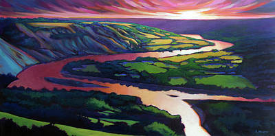 Painting - Peace River Setting Sun by Alison Newth