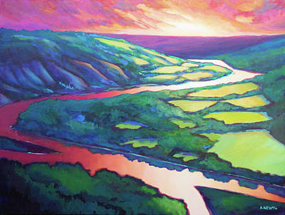 Painting - Peace River Sunset by Alison Newth