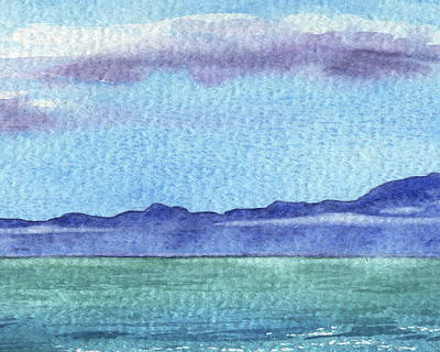 Royalty-Free and Rights-Managed Images - Peaceful Seascape Watercolor Lake With Mountains And Clouds by Irina Sztukowski