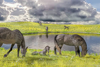 Animals Digital Art - Peaceful Summer Days by Betsy Knapp