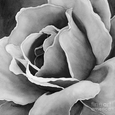 Ethereal - Peach Rose in Black and White by Hailey E Herrera