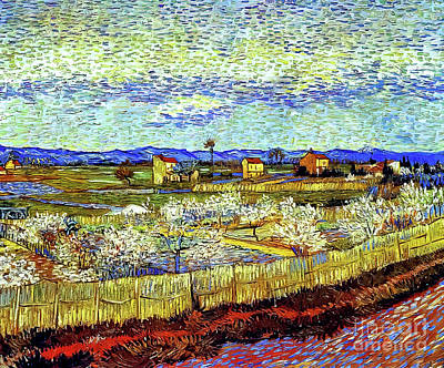 Katharine Hepburn - Peach Trees in Blossom by Vincent Van Gogh 1889 by Vincent Van Gogh