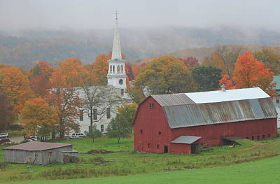 Featured Tapestry Designs - Peacham Vermont Autumn Rain by John Burk