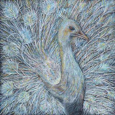 Pastel - Peacock Art In Soft Pastels by Olga Hamilton