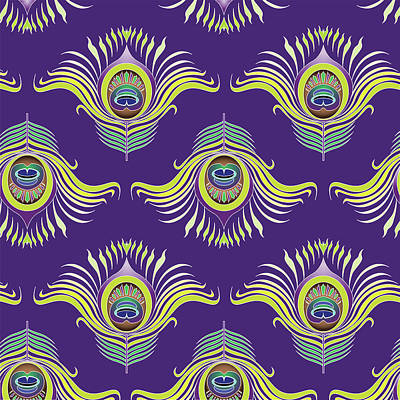 Royalty-Free and Rights-Managed Images - Peacock feathers seamless pattern background.  by Julien