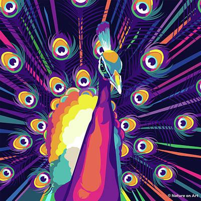 Digital Art - Peacock by Stars on Art