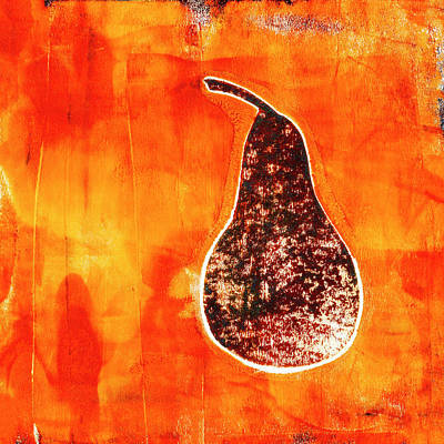 Mixed Media - Pear in Golden Red by Carol Leigh