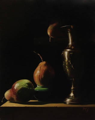 Painting - Pears, brass vase and ceramic bowl by Peter Thomas Foster