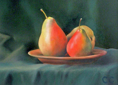 Painting - Pears on a Terracotta Plate on Green Suede Cloth by Catherine Considine