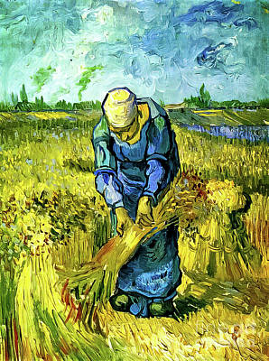 Keith Richards Royalty Free Images - Peasant Woman Binding Sheaves by Vincent Van Gogh 1889 Royalty-Free Image by Vincent Van Gogh