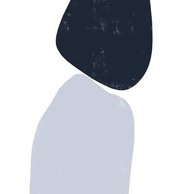 Mixed Media Royalty Free Images - Pebble Stories 3 - Minimal Abstract Painting - Contemporary - Modern Art - Navy, Grey Royalty-Free Image by Studio Grafiikka