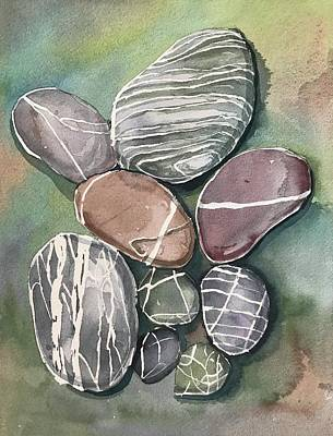 Modern Feathers Art - Pebbles by Luisa Millicent