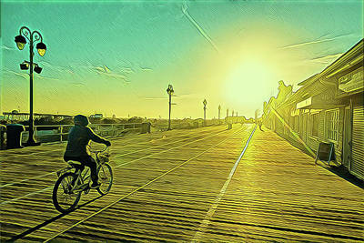 Surrealism Royalty-Free and Rights-Managed Images - Pedaling into the Sunset by Surreal Jersey Shore