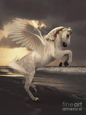 Digital Art - Pegasus with roses by Babette Van den Berg