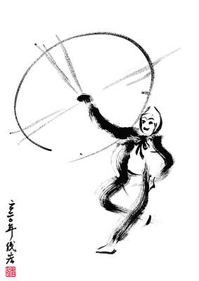 Animals Drawings - Peking Opera dancer actor-5- Arttopan Zen Freehand Chinese painting-Buddhist mood by Artto Pan