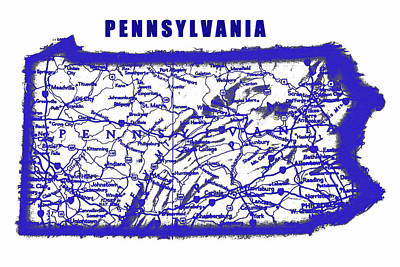 Science Collection - Pennsylvania blue print map by David Lee Thompson