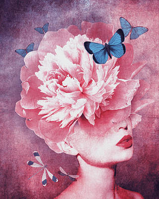 Surrealism Digital Art Rights Managed Images - Peony woman Royalty-Free Image by Mihaela Pater